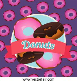 delicious sweet donuts pattern with ribbon frame
