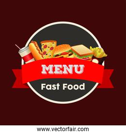 delicious fast food menu template with circular frame and ribbon