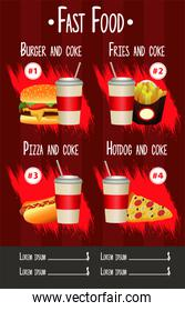 delicious fast food menu template in red background