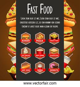 delicious fast food bundle menu with lettering template in frame