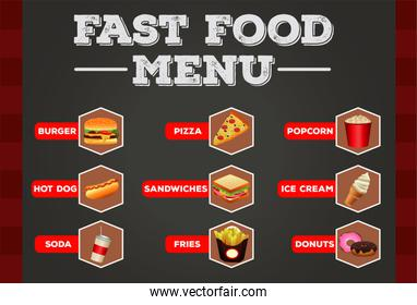 delicious fast food bundle menu with lettering template