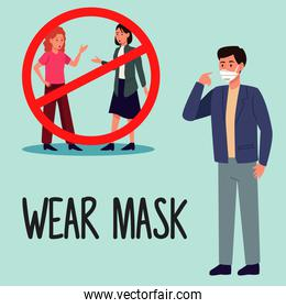 wear mask covid19 prevention campaign with people dont use masks