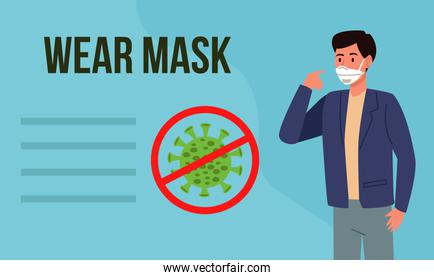 wear mask covid19 prevention campaign with man using medical mask