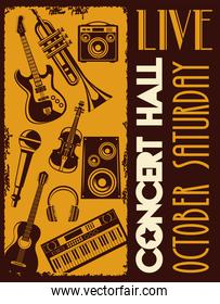 live concert hall lettering poster with instruments
