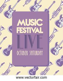 music festival lettering poster with instruments pattern