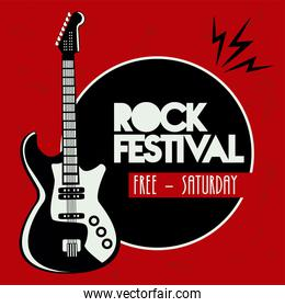 rock live festival lettering poster with electric guitar instrument