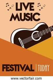 live music festival lettering poster with guitar instrument
