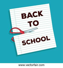 back to school lettering in notebook sheet and scissor cuting