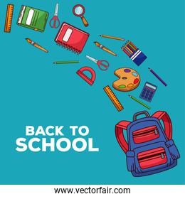back to school lettering with schoolbag and supplies in blue background