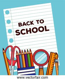 back to school lettering in notebook sheet paper with supplies