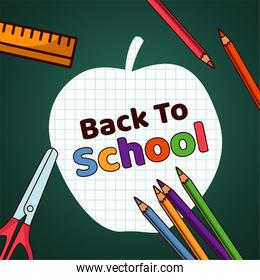 back to school lettering paper apple with supplies