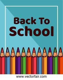 back to school lettering with rainbow colors supplies