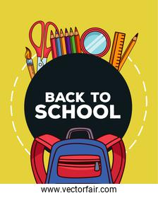 back to school lettering with supplies and schoolbag