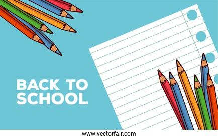 back to school lettering with notebook sheet and colors pencils