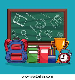 back to school chalkboard and equipment supplies