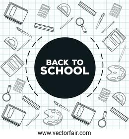 back to school lettering with supplies drawn