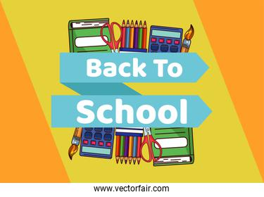 back to school lettering in ribbon with set supplies equipment