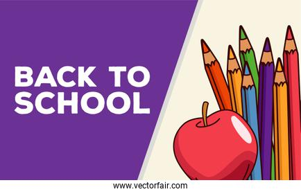 back to school lettering with colors pencils and apple