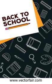 back to school lettering in paper sheet with supplies and pencil