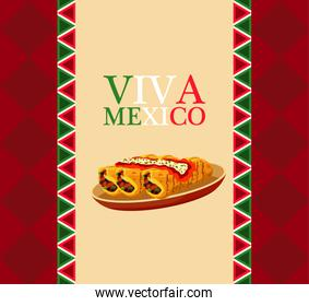 mexican food restaurant poster with lettering and burritos