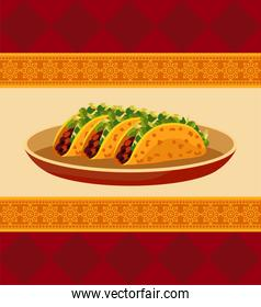 mexican food restaurant poster with tacos in dish