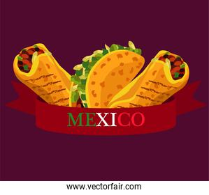 mexican food restaurant poster with tacos and burritos