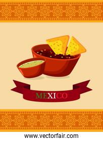 mexican food restaurant poster with nachos in sauces and ribbon