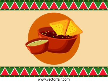 mexican food restaurant poster with nachos and sauces