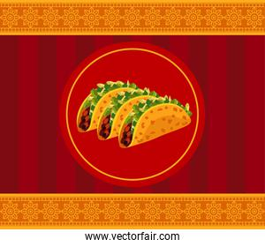 mexican food restaurant poster with tacos in frame