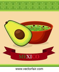 mexican food restaurant poster with avocado and guacamole
