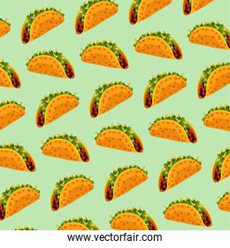 mexican food restaurant poster with tacos pattern