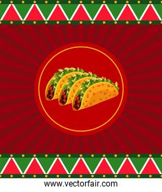 mexican food restaurant poster with delicious tacos