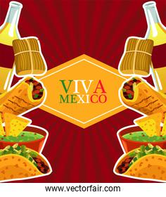 mexican food restaurant poster with lettering and menu frame