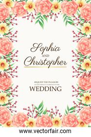 wedding invitation card with flowers pink border frame