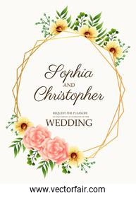 wedding invitation card with flowers pink and golden frame