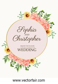 wedding invitation card with flowers pink in golden circular frame