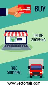 online shopping technology in laptop with credit card and truck
