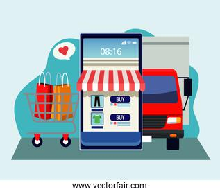 online shopping technology with smartphone and delivery truck