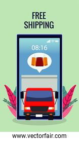 online shopping technology with delivery truck in smartphone