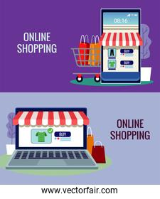 online shopping technology in smartphone and laptop with cart