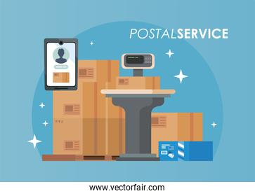 boxes packings with scale balance postal service isolated style