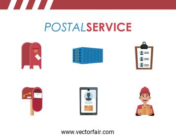 bundle of six postal service set icons with lettering