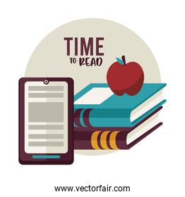 text books education supplies with apple and tablet
