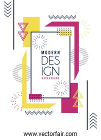 geometric design lettering in white and figures memphis background