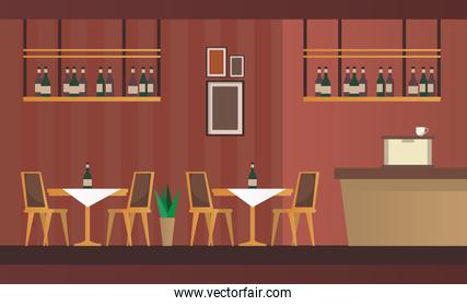 elegant tables and chairs with bar restaurant forniture scene