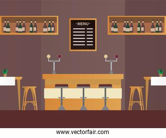 tables and chairs with bar in restaurant forniture scene