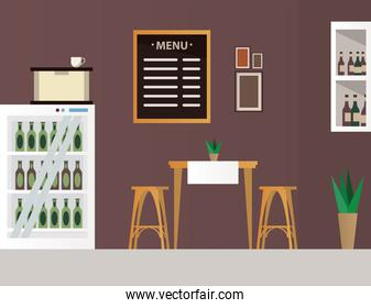 elegant table and chairs with wine bottles in fridge restaurant forniture scene