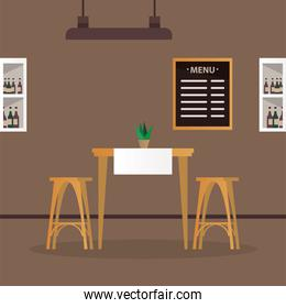 elegant table and chairs with wine in shelfs restaurant scene