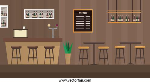 tables and chairs with bar restaurant scene