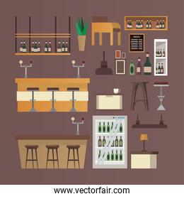 bundle of bar and restaurant forniture icons